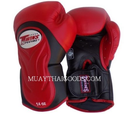 BGVL6 TWINS SPECIAL RED BLACK MUAY THAI KICK BOXING GLOVES