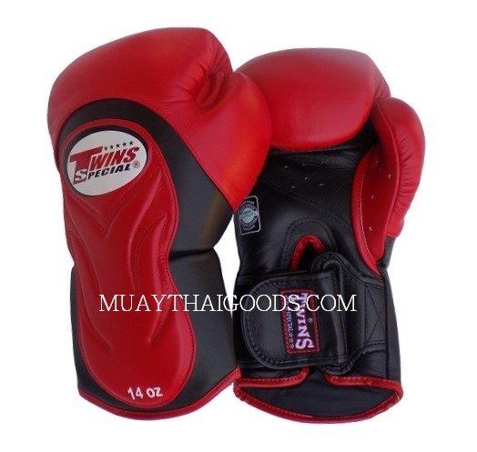 Shiv Naresh Teens Boxing Gloves 12oz: BGVL6 TWINS SPECIAL RED BLACK MUAY THAI KICK BOXING GLOVES