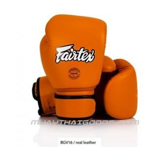 FAIRTEX BGV16 ORANGE LEATHER MUAY THAI GLOVES
