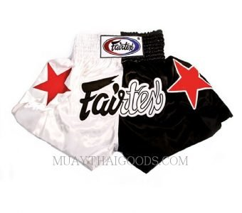 FAIRTEX MUAY THAI BOXING SHORTS BS81 WHITE BLACK
