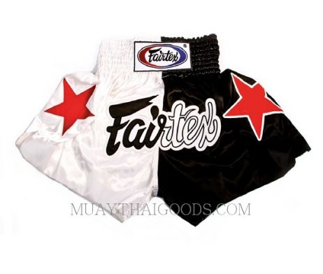 FAIRTEX MUAY THAI BOXING SHORTS BS81 WHITE BLACK