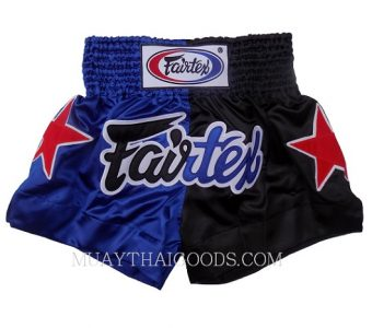 FAIRTEX OFFICIAL FIGHT MUAY THAI BOXING SHORTS BS84 blue black HEAVY SATIN