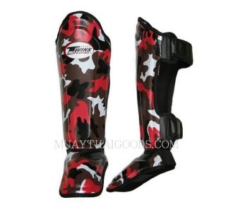 FANCY TWINS SHIN GUARDS SGL10 DOUBLE PADDED RED ARMY MILITAR