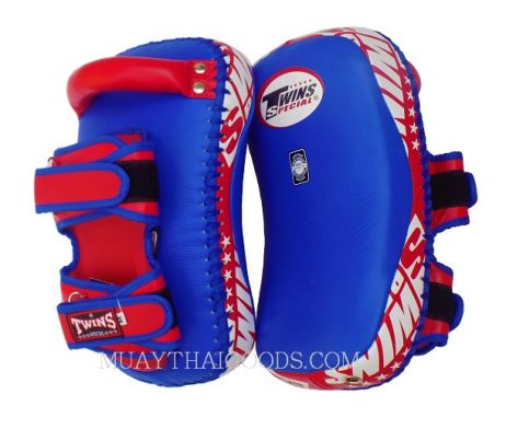 KPL12 LEATHER KICKING PADS FOREARM TRAINING CURVED TWINS SPECIAL BLUE ORANGE