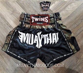 MILITAR MUAY THAI BOXING TWINS SPECIAL SHORTS BLACK WHITE TBS