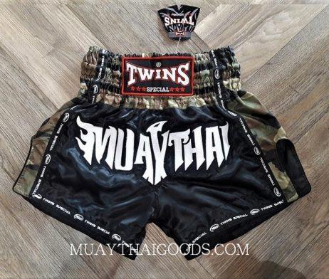 MILITAR MUAY THAI BOXING TWINS SPECIAL SHORTS BLACK WHITE TBS