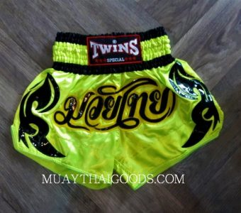MUAY THAI BOXING TWINS SPECIAL SHORTS GREEN FLUO TBS 6091