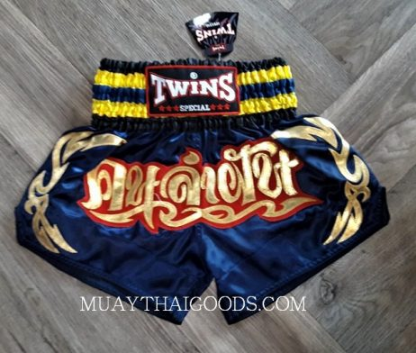 MUAY THAI BOXING TWINS SPECIAL SHORTS NAVY BLUE YELLOW TBS