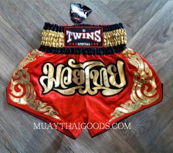 MUAY THAI BOXING TWINS SPECIAL SHORTS RED GOLD TBS 7077
