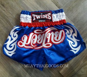 THAI FLAG MUAY THAI BOXING TWINS SPECIAL SHORTS BLUE RED WHITE TBS 6025 SIZE   S WAIST  26 - 27.5  INCHES