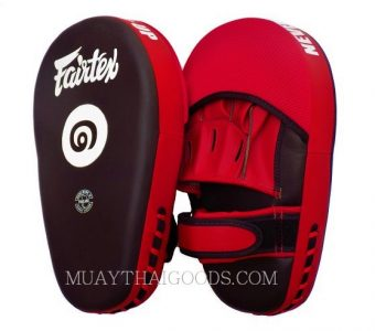 THAI VERSION Fairtex Muay Thai Boxing Focus Punching Mitts FMV12 BLACK RED