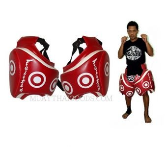 THIGH PADS SYNTEX LEATHER MADE BY FAIRTEX TP3 RED PROTECTION COACH VELCRO CLOSURE TRAINER GEAR MUAY THAI