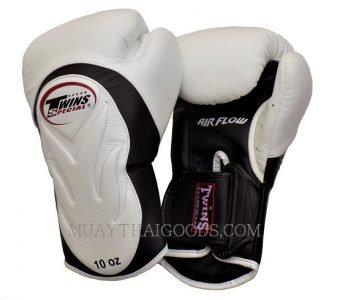 AIRFLOW TWINS SPECIAL BGVL6 WHITE BLACK PALM MUAY THAI KICKBOXING GLOVES