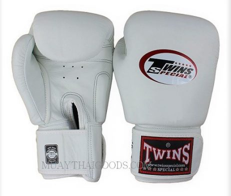 BGVL3 WHITE MUAY THAI KICK BOXING GLOVES TWINS SPECIAL