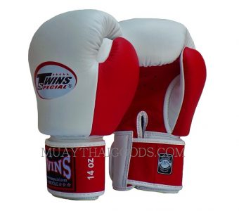 BGVL3 WHITE RED DOUBLE TONE MUAY THAI KICK BOXING GLOVES TWINS SPECIAL