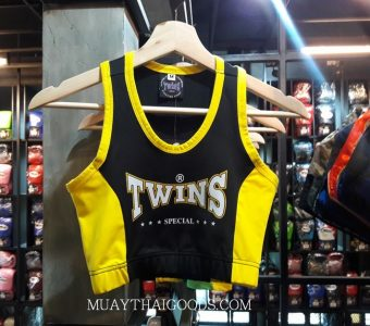 ELASTIC CROP TOP LADIES TWINS SPECIAL BLACK YELLOW TBS 3 CROP TOP SPORT MUAY THAI KICKBOXING RUNNNING JOGGING