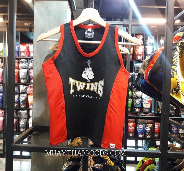 ELASTIC TANK TOP LADIES TWINS SPECIAL BLACK RED TBS 2 - Muay Thai Goods ac7626c33492