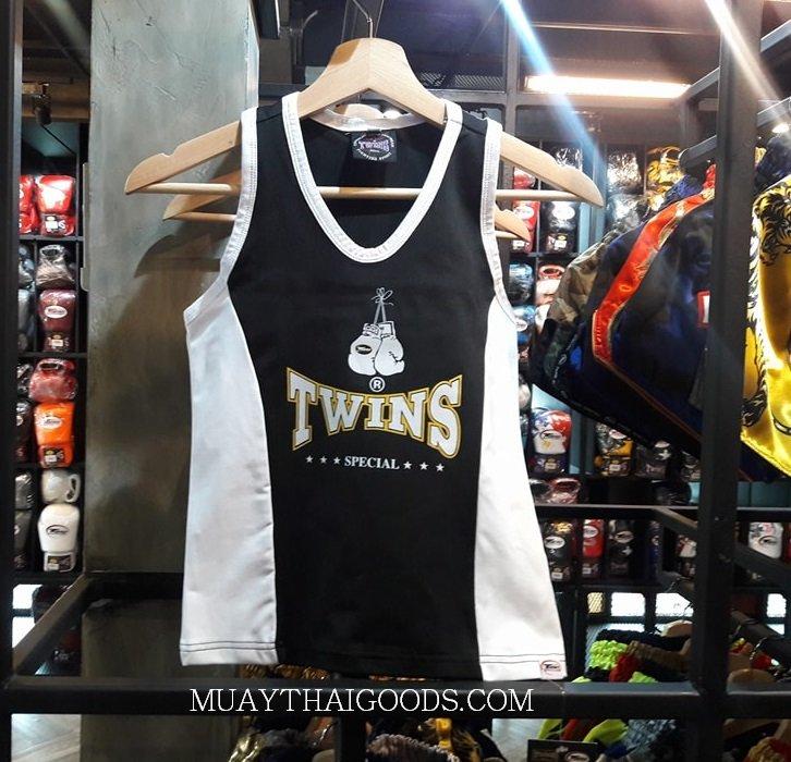 ELASTIC TANK TOP LADIES TWINS SPECIAL BLACK WHITE TBS 2 - Muay Thai Goods 4006c577d807