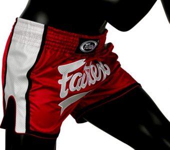 FAIRTEX MUAY THAI BOXING SHORTS SLIM CUT BS1704 Red White Kevlar