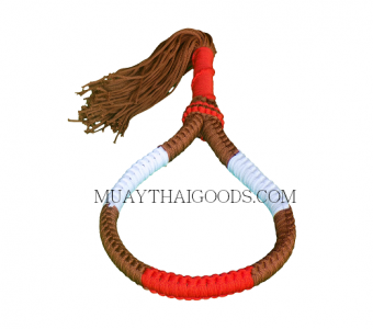 HANDMADE HEAD BAND MONGKOL MUAY THAI BROWN RED WHITE