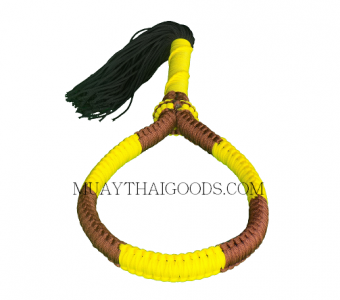 HANDMADE HEAD BAND MONGKOL MUAY THAI BROWN YELLOW