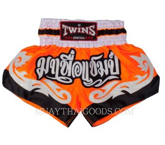 KID MUAY THAI BOXING SHORTS TWINS SPECIAL ORANGE WHITE