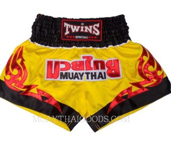 KID MUAY THAI BOXING SHORTS TWINS SPECIAL YELLOW BLACK