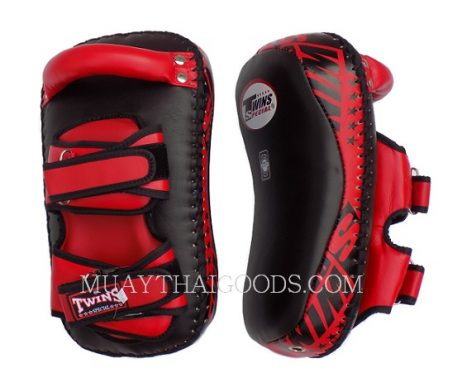 KPL12 LEATHER MUAY THAI KICKBOXING KICK PADS KICKING PADS FOREARM TRAINING CURVED TWINS SPECIAL BLACK RED