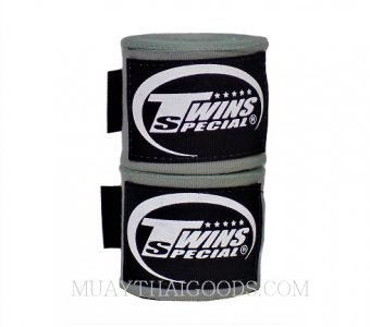 NEW MUAY THAI BOXING TWINS SPECIAL HAND WRAPS ELASTIC GREY CH5