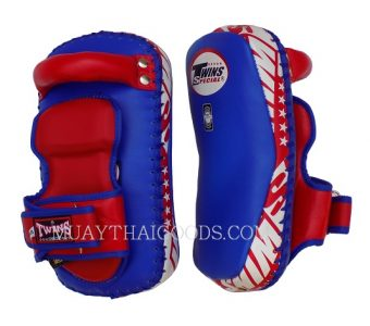 SIZE SMALL TWINS KPL12 LEATHER KICK PADS FOREARM CURVED BLUE RED