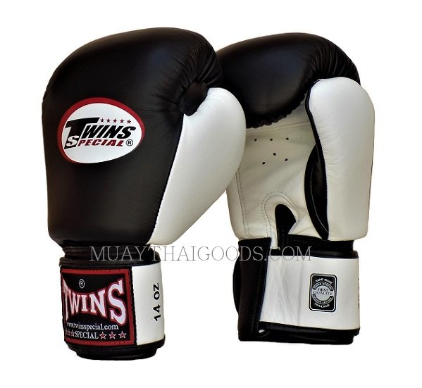 Shiv Naresh Teens Boxing Gloves 12oz: BLACK WHITE TWINS SPECIAL MUAY THAI KICK BOXING GLOVES