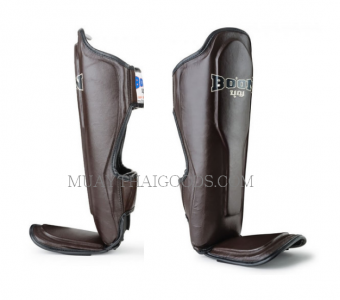 BOON LEATHER SHIN GUARDS PADS DOUBLE PADDED BROWN