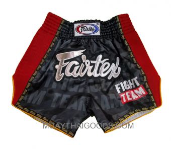 BS303 FAIRTEX MUAY THAI BOXING SHORTS BLACK RED MADE IN SATIN
