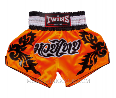 TWINS SPECIAL MUAY THAI BOXING SHORTS ORANGE WHITE TBS 4220