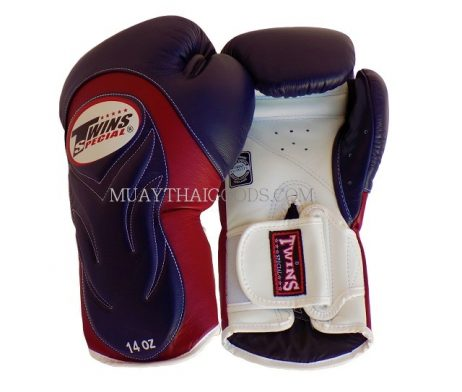 BGVL6 TWINS SPECIAL NAVY BLUE BURGUNDY WHITE MUAY THAI KICK BOXING GLOVES