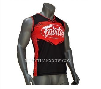 FAIRTEX TSHIRT JERSEY JS9 SLEEVELESS BLACK RED