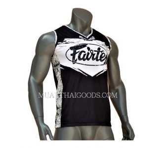 FAIRTEX TSHIRT JERSEY JS9 SLEEVELESS BLACK WHITE