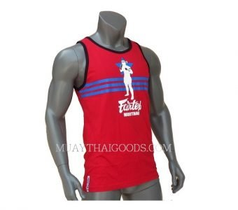 FAIRTEX MUAY THAI TSHIRT MTT10 SLEEVELESS RED COTTON 100%