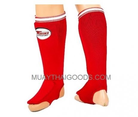 SGN1 RED ELASTIC SOCKS SHIN GUARDS PADDED FOAM TWINS SPECIAL