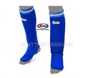 SPE1 BLUE ELASTIC SOCKS SHIN GUARDS PADDED FOAM FAIRTEX BRAND MUAY THAI
