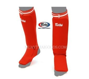 SPE1 RED ELASTIC SOCKS SHIN GUARDS PADDED FOAM FAIRTEX BRAND