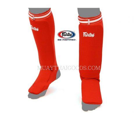 SPE1 RED ELASTIC SOCKS SHIN GUARDS PADDED FOAM FAIRTEX BRAND