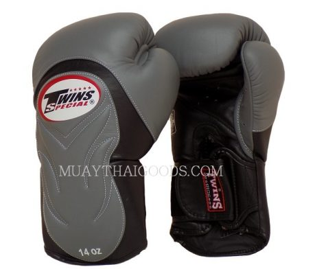 BGVL6 TWINS SPECIAL GREY BLACK MUAY THAI KICK BOXING GLOVES