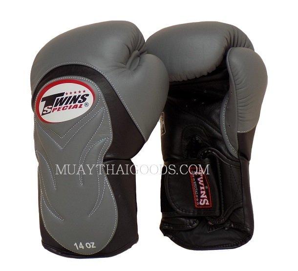 Shiv Naresh Teens Boxing Gloves 12oz: BGVL6 TWINS SPECIAL GREY BLACK MUAY THAI KICK BOXING