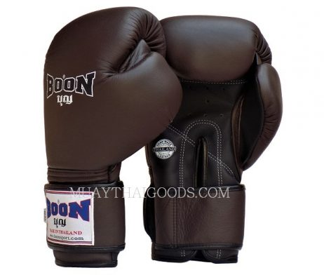 BOON MUAY THAI KICK BOXING GLOVES LEATHER ROWN BLACK