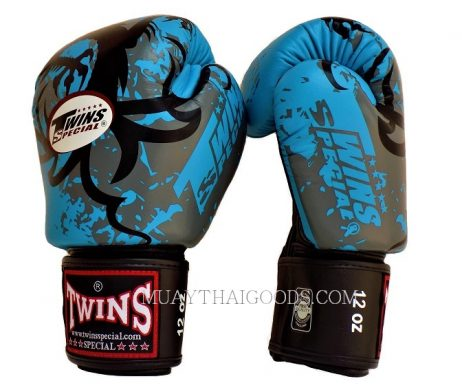 BOXING GLOVES TWINS SPECIAL GRAPHIC TRIBAL DRAGON FBGV36 LIGHT BLUE