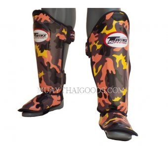 FANCY TWINS SHIN GUARDS SGL10 DOUBLE PADDED ORANGE ARMY MILITAR