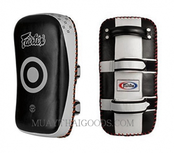 LEATHER TRAINER KICK PADS BLACK WHITE FAIRTEX KPLC2