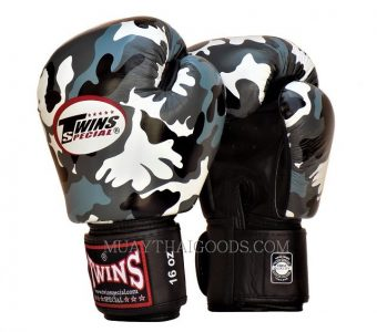MUAY THAI KICK BOXING GLOVES TWINS SPECIAL URBAN GRAY CAMOUFLAGE FBGV16 MADE IN LEATHER