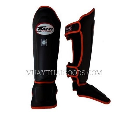 Shin guards Leather TWINS SPECIAL BLACK ORANGE PIPING Double Padded Protection SGL10